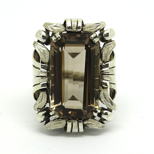 Vintage SCANDINAVIAN Smoky Quartz 830 Silver Ring