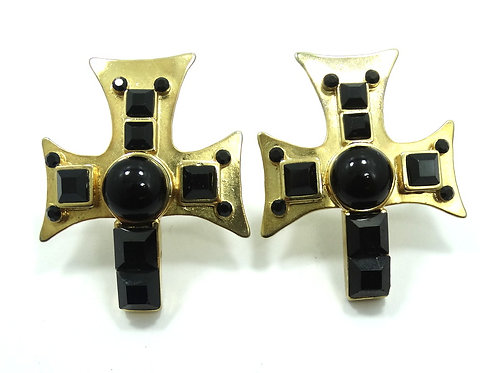 FABULOUS Vintage GIANNI VERSACE IRON CROSS Gold Plated RUNWAY Clip On Earrings