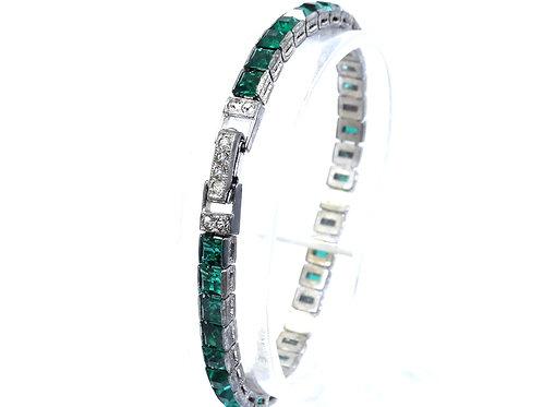 "ART DECO Vintage OTIS Green Rhinestone Sterling Silver Tennis Bracelet 7"""