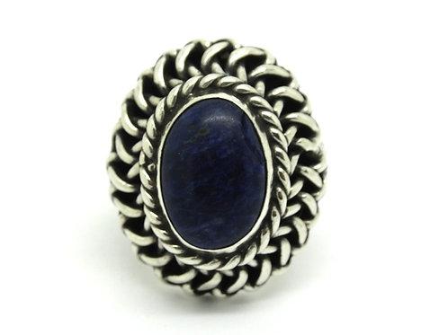 CFR Mexico SODALITE 925 Silver Basket Woven Ring