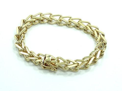 Vintage TIFFANY & CO 14K Yellow Gold Charm HEAVY 35 gr Weave WHEAT Link Bracelet