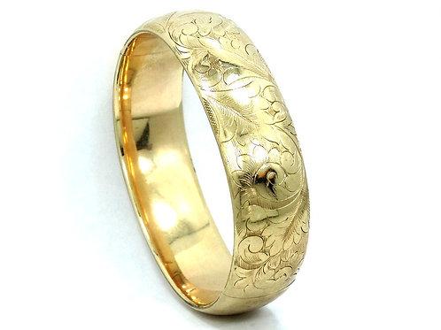 Antique Victorian S.B.Co Etched Floral Gold Filled Bangle Bracelet