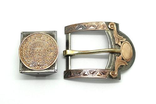 AZTEC Calender Mexico 925 Silver & Gold Belt Buckle Set