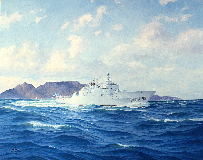 HMS Carlskrona off Cape Town