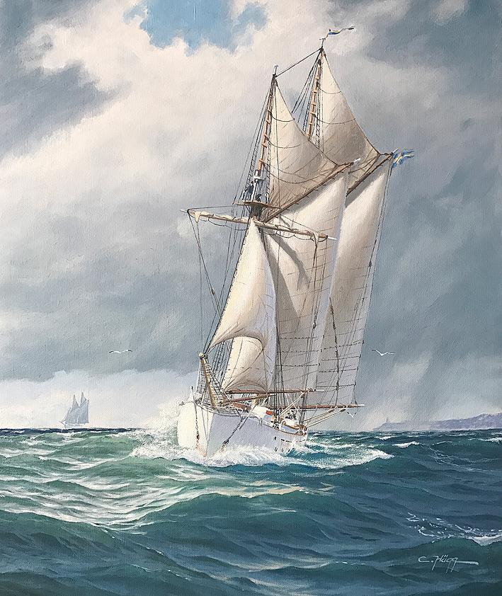 HMS Gladan in a squall