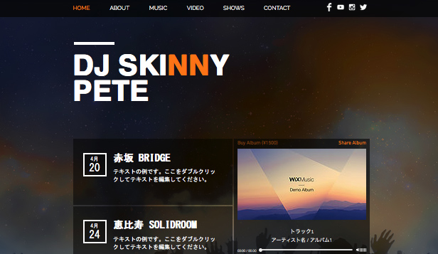 DJ website templates – レイブ DJ