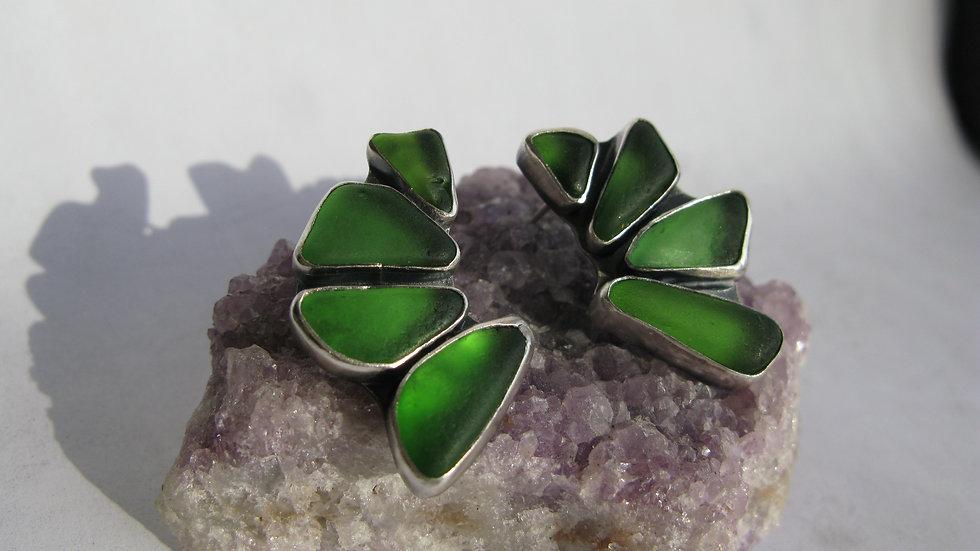 Green Lake Glass Cluster Earrings