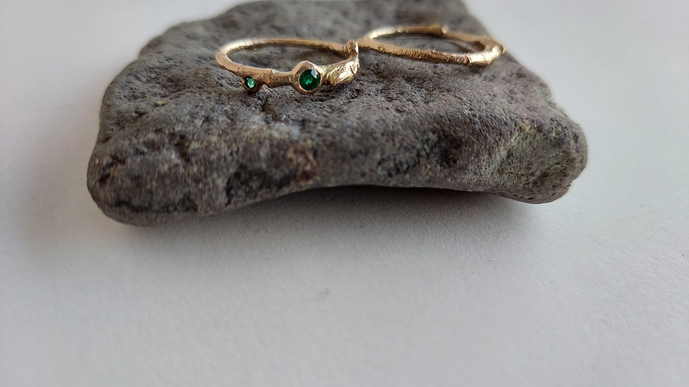 Golden Twig Ring with Emeralds