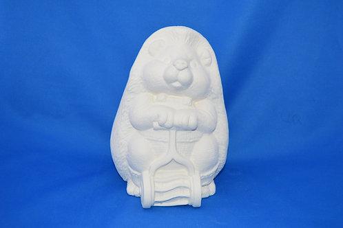Father Hedgehog / mower, G3044, 20 x 14 cms