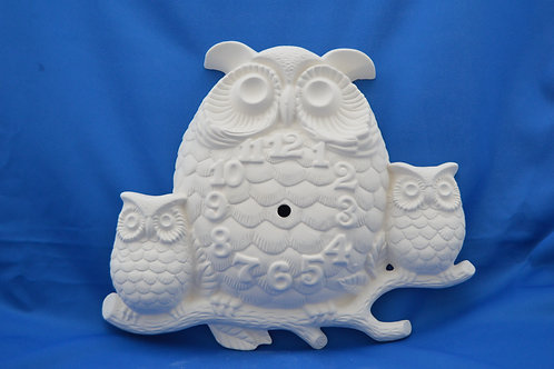 OWL CLOCK, GB506, 29 X 33cms