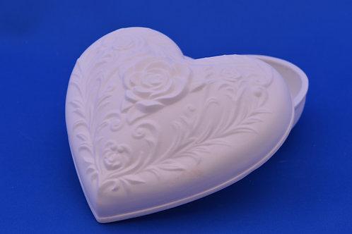 HEART BOX ROSE LID, DM427, 11cms