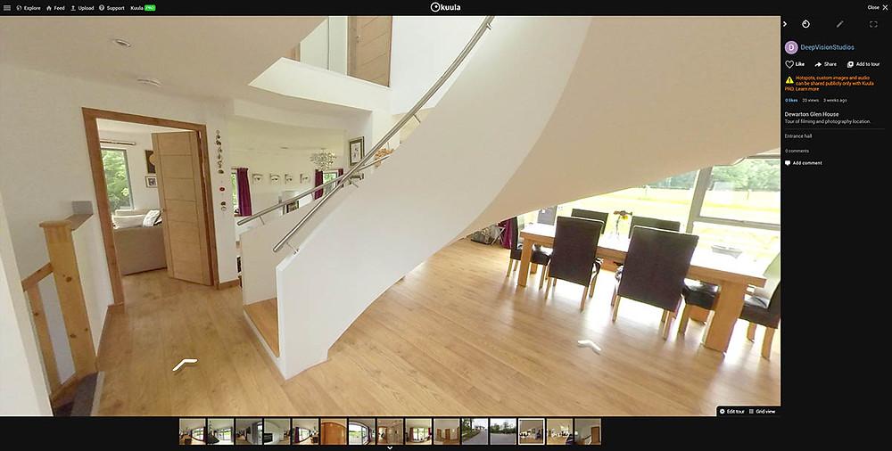 Virtual home tour in Kuula interface