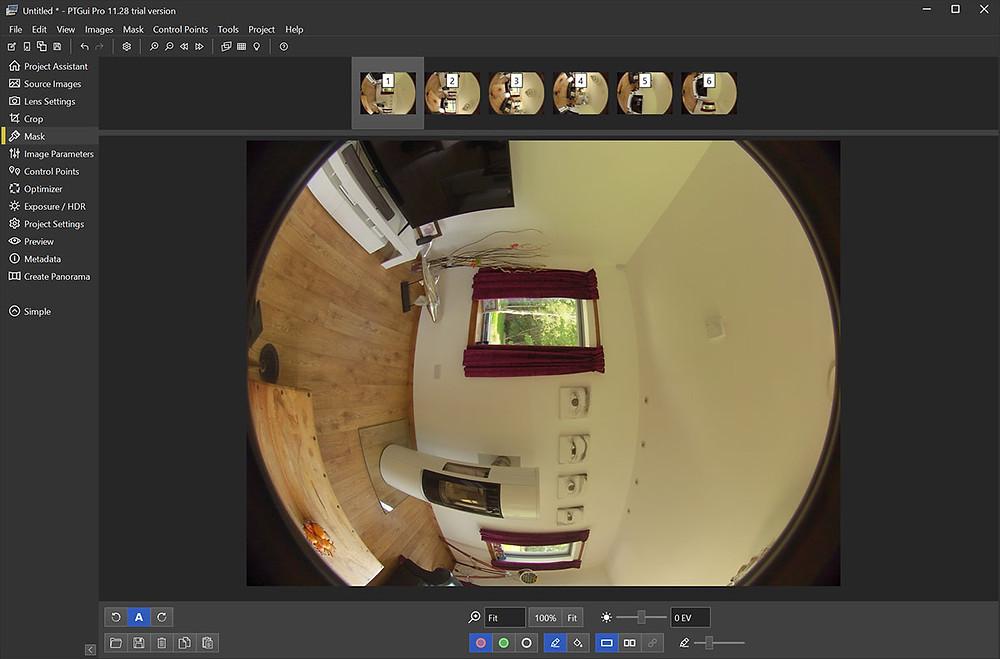 Virtual Tour image stitching in PTGUI Interface