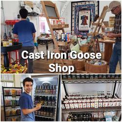 cast iron goose collage
