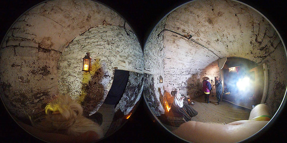 Panoramic fish eye view of The Real Mary King's Close in Edinburgh