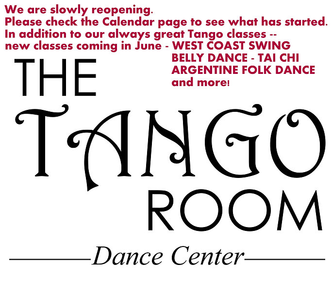 Tango Room logo with new class announce.