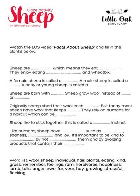 Sheep Cloze Activity