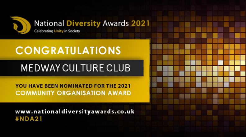 National Diversity Award organisers congratulates Medway Culture Club for being nominated for a Community Organisation Award