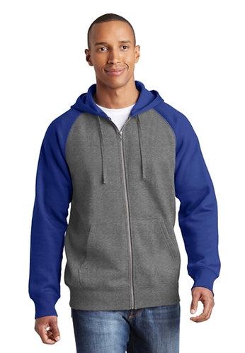 Sport Tek raglan color block full zip hoody