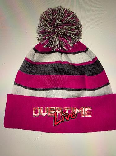 Overtime Live Pom beanie Cancer Awareness