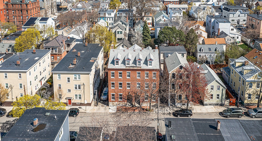 Drone photo of Spring street in Cambridge