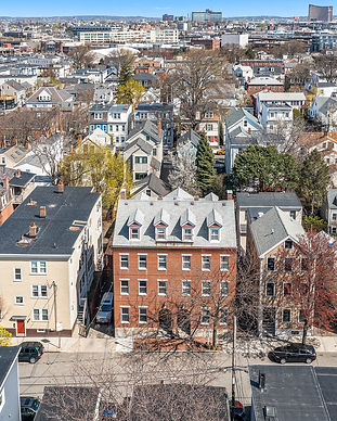 Drone photo of spring street brick building