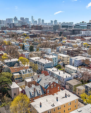 Drone photo of spring street neighborhood