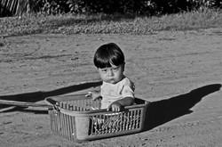 boy in a basket, amazon basin