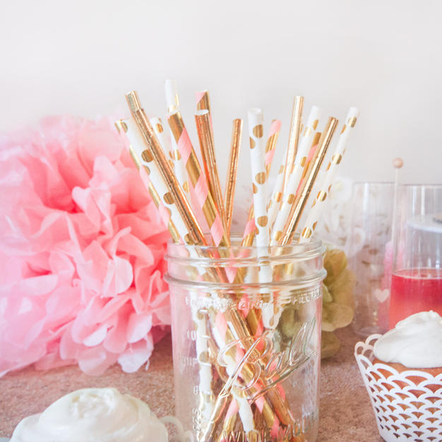Pink, White Gold Straws