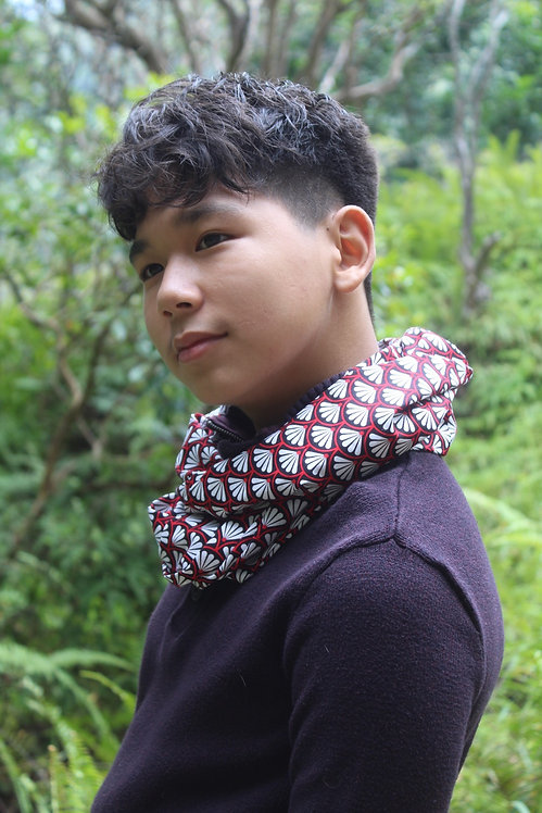 Seigaiha Red/Black Infinity Scarf
