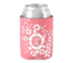 Beer Coozy with Pink Papercut Floral Design