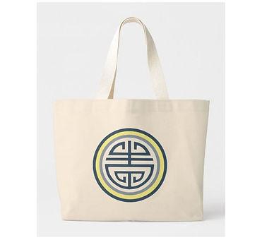 Blue and Yellow Shou Longevity Symbol Tote Bag