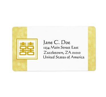 Double Happiness Gold Square Mailing Labels from Zazzle