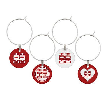 Wine Charm Set: Red Double Happiness