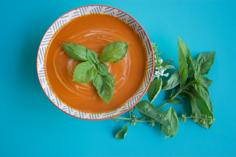 Vegan, Gluten-Free Tomato Basil Soup Feature Image