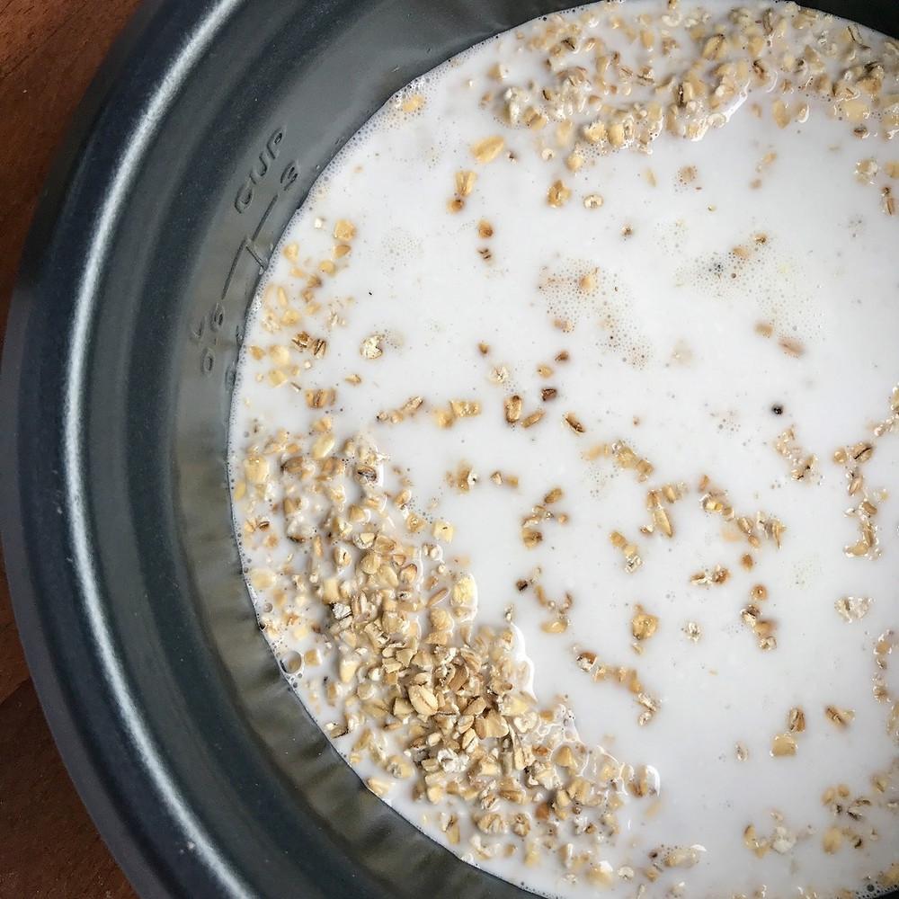 coconut milk steel cut oats in rice cooker