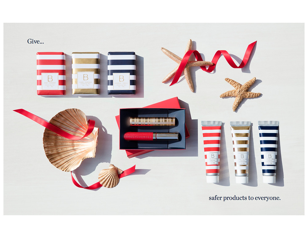 Give safer products to everyone - Beautycounter Christmas display
