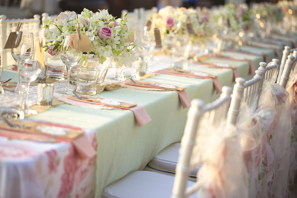 Table setting for an wedding reception.j
