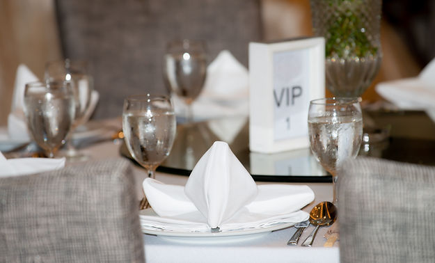 The VIP sign on reception dinner table d