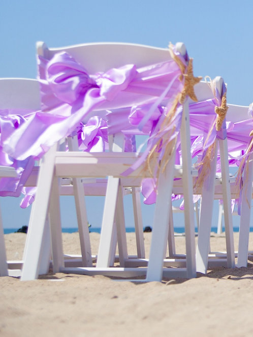 White Resin Chair Rental with Sashes