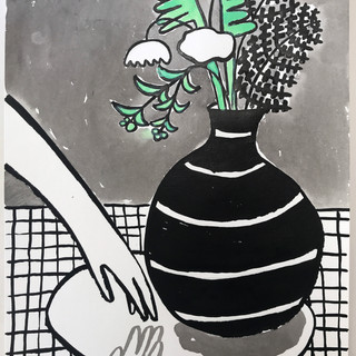 Hand in mirror with vase - 500.jpg