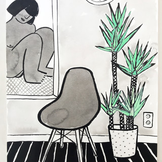 lady in a mirror with chair & plant - 50