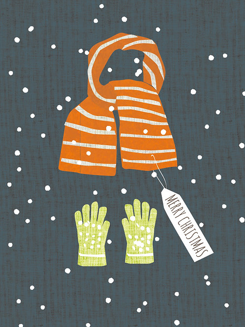 Christmas Scarf & Gloves Card Design