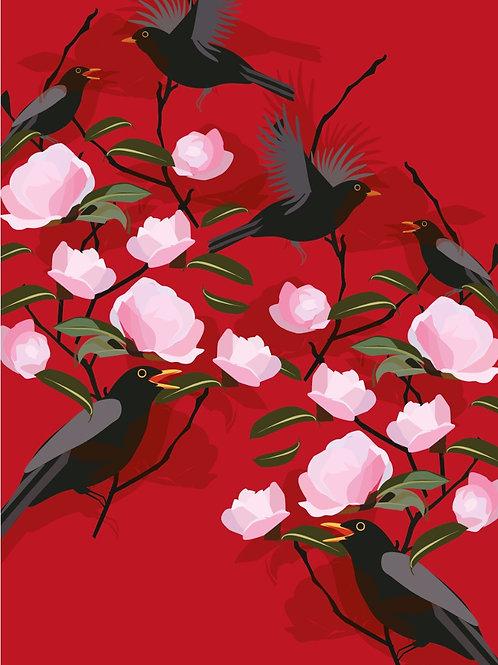 Blackbird & Camelia Crimson