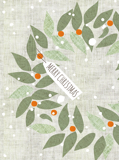 Christmas Wreath Cream Card