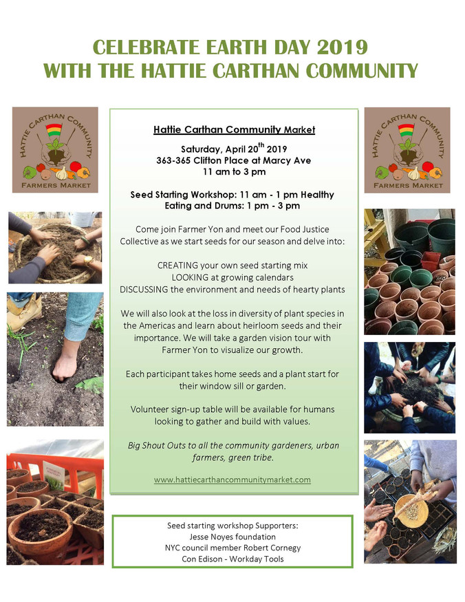 EARTH DAY CELEBRATION: SEEDSTARTING AT HC COMMUNITY MARKET April 20th 11am - 3pm and WAKE UP THE FAR