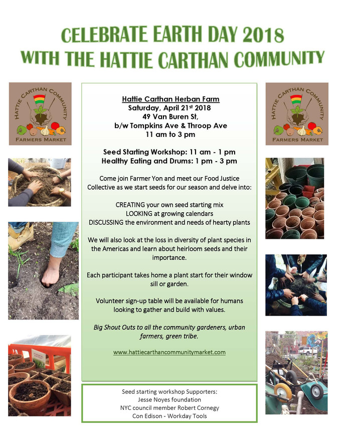 April 21st 11am - 3pm SEEDSTARTING AT HATTIE CARTHAN HERBAN FARM