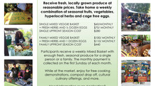 Sign up to receive seasonal fruits, vegetables, herbs and cage-free eggs! 2020 Mixed Basket Program