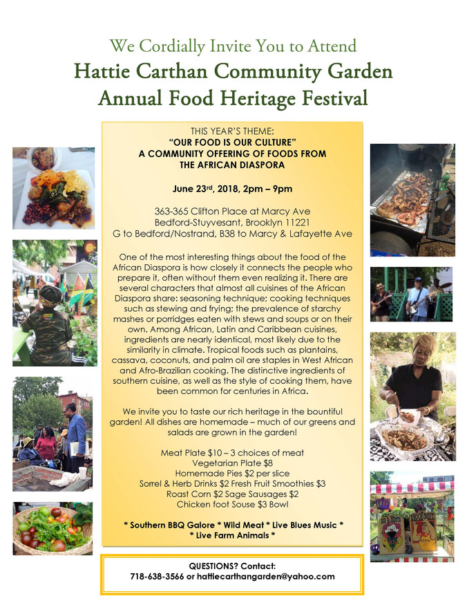 Photos from the June 23rd Food Heritage Festival at the Hattie Carthan Community Garden!
