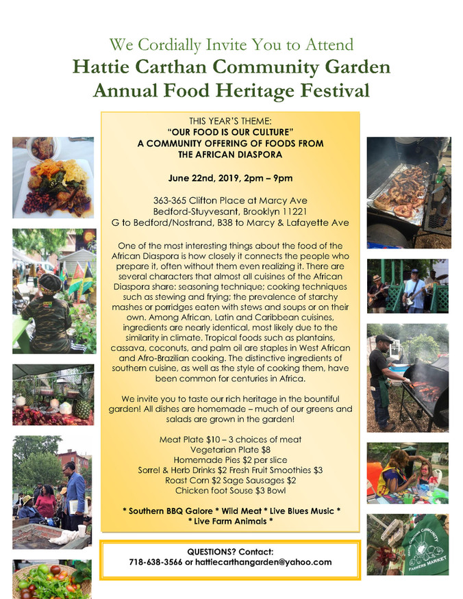 HATTIE CARTHAN COMMUNITY GARDEN ANNUAL FOOD HERITAGE FESTIVAL